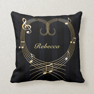 Personalized Golden Heart Musical Notes Throw Pillow