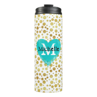 Personalized golden modern dots heart monogram thermal tumbler