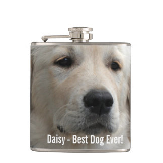 Personalized Golden Retriever Dog Photo and Name Hip Flask