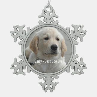 Personalized Golden Retriever Dog Photo and Name Pewter Snowflake Decoration