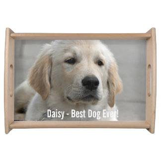 Personalized Golden Retriever Dog Photo and Name Serving Tray