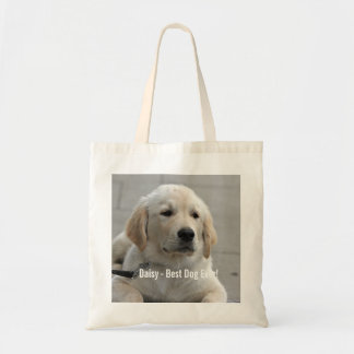 Personalized Golden Retriever Dog Photo and Name Tote Bag