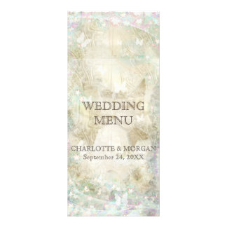 Personalized Golden Sparkly Rustic Wedding Menu Customised Rack Card