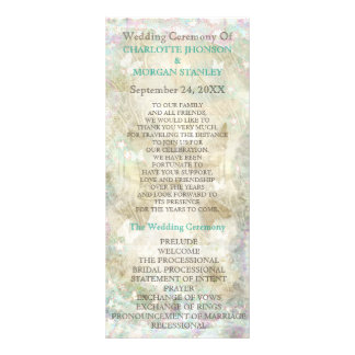 Personalized Golden Sparkly Rustic Wedding Program Full Colour Rack Card