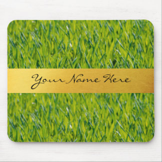 Personalized Golden Stripe on Green Grass Mouse Mat