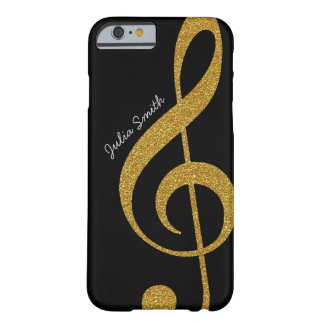 personalized golden treble clef music barely there iPhone 6 case