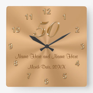 Unique Wedding Anniversary Gifts Uk : Personalized Golden Wedding Anniversary Gift Clock