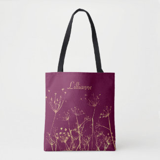 Personalized, Golden Wildflowers Tote Bag