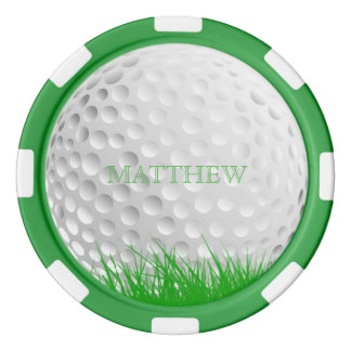 Personalized Golf Ball in Grass Marker Poker Chips Set