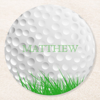 Personalized Golf Ball in Grass Round Paper Coaster