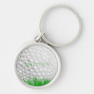 Personalized Golf Ball in Grass Silver-Colored Round Key Ring