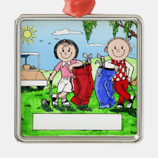 Personalized Golf Couple Cartoon Caricature Christmas Ornament