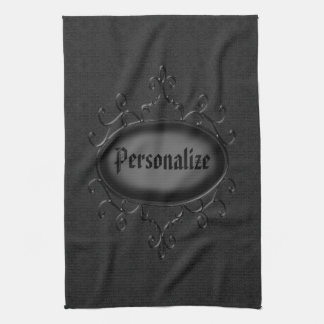 Personalized Gothic Ornament Black Kitchen Towel