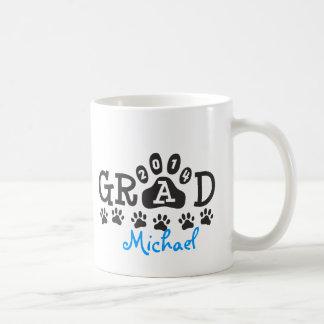 Personalized GRAD 2014 PAWS BLUE Graduation Basic White Mug