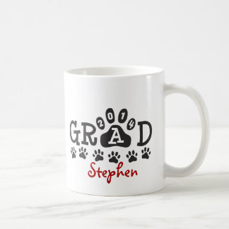Personalized GRAD 2014 PAWS RED Graduation Basic White Mug