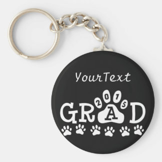 Personalized GRAD 2015 Black White PAWS Graduation Basic Round Button Key Ring
