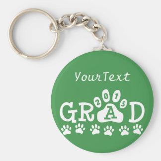 Personalized GRAD 2015 Green White PAWS Graduation Basic Round Button Key Ring