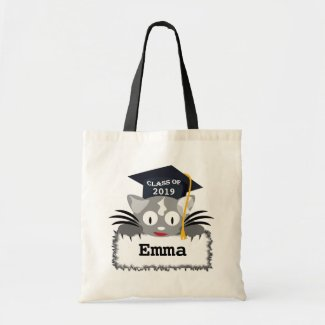 Personalized Graduation Tote Bag. Cute Kitty Face