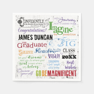 Personalized Graduation Word Art Disposable Napkin