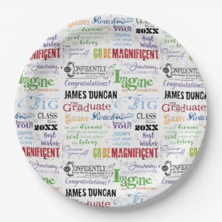 Personalized Graduation Word Art Paper Plate