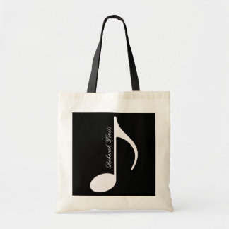personalized graphic musical note tote bag
