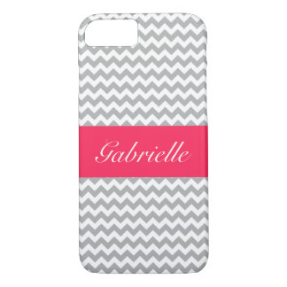 Personalized Gray and White Chevron with Pink Band iPhone 7 Case