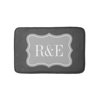 Personalized gray and white monogram bath mat