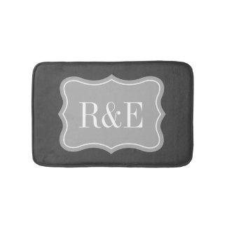 Personalized gray and white monogram bath mat bath mats