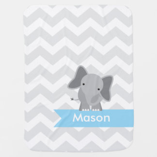 Personalized Gray Blue Chevron Elephant Baby Blanket