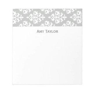 Personalized Gray Damask Pattern Notepad