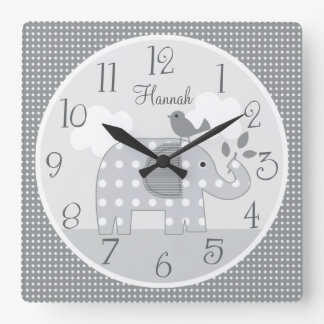 Personalized Gray Dot Elephant Nursery Baby Clock