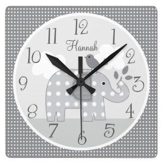 Personalized Gray Dot Elephant Nursery Baby Clock