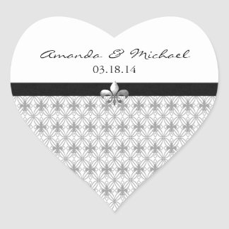 Personalized Gray Fleur de Lis Heart Stickers