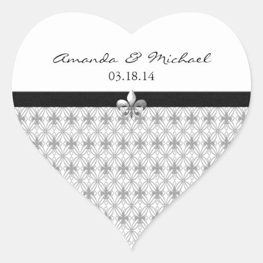 Personalized Gray Fleur de Lis Heart Stickers
