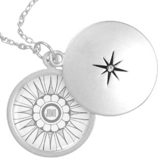 Personalized Gray Flower Power Love and Peace Round Locket Necklace