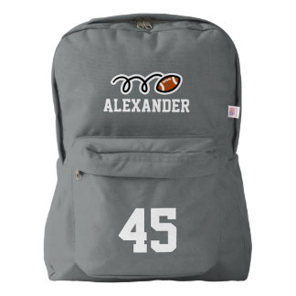 Personalized gray football jersey number backpack