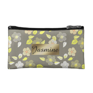 Personalized Gray Hibiscus Print Cosmetic Bag