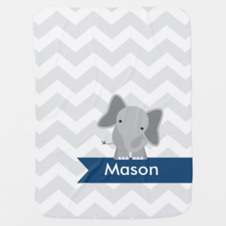 Personalized Gray Navy Blue Chevron Elephant Baby Blanket