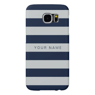 Personalized Gray & Navy Blue Striped