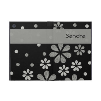 Personalized  Gray Retro Flowers On Black Cover For iPad Mini