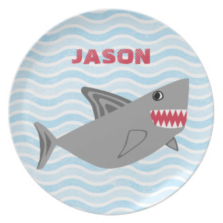 Personalized Gray Shark Blue Waves Plate