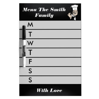 Personalized Gray Weekly Dinner Menu Dry Erase Boards