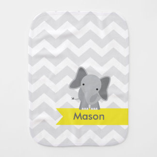 Personalized Gray Yellow Chevron Elephant Burp Cloths