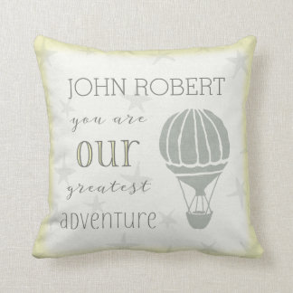 Personalized Greatest Adventure Begins Throw Pillow