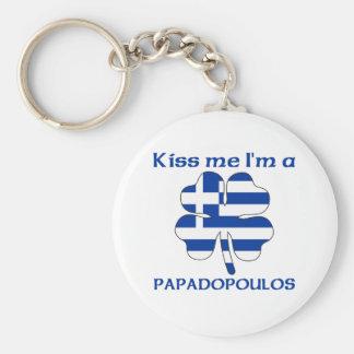 Personalized Greek Kiss Me I'm Papadopoulos Key Chain