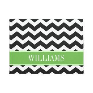 Personalized Green and Black Chevron Doormat