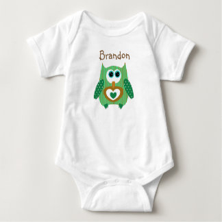 Personalized Green and Brown Owl Baby One Piece Baby Bodysuit