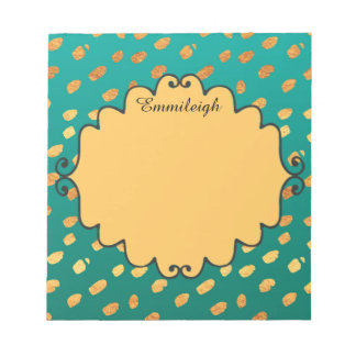 Personalized Green and Gold Confetti Notepad