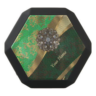 Personalized green and gold damask pattern black bluetooth speaker