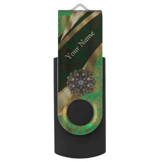 Personalized green and gold damask pattern USB flash drive